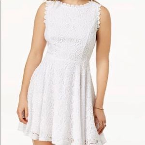 Juniors lace fit and flare dress
